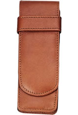 Royce 2 Slot Leather Double Pen Carrying Cases in Tan