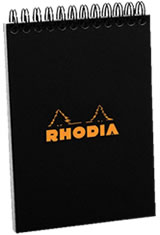 Rhodia A6 Spiral Memo & Notebooks in Black