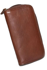 Brown Aston Leather Zipper Two Pen Carrying Cases