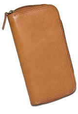 Aston Leather Zipper Two Pen Carrying Cases in Tan