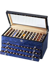 Venlo 60 Pen Display Cases in Blue