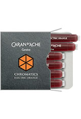Caran d'Ache Chromatics Cartridges (6pk)   Pen Care Supplies in Electric Orange
