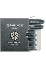Caran d'Ache Chromatics Cartridges (6pk)   Rollerball Pen Refills in Infinite Grey