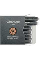 Caran d'Ache Chromatics Cartridges (6pk)   Rollerball Pen Refills in Organic Brown