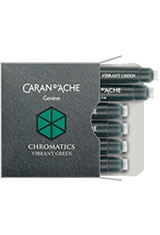 Caran d'Ache Chromatics Cartridges (6pk)   Rollerball Pen Refills in Vibrant Green