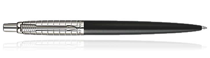 Parker Jotter Ballpoint Pens in Black Stainless Steel Chiselled