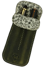 Olive Gold Dee Charles Designs Double Sleeve Pen Carrying Cases