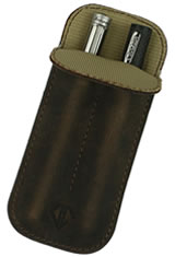 Dee Charles Designs Double Sleeve Pen Carrying Cases in Rawhide Brown