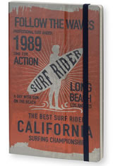 Surf Rider Long Beach 1989 Orange Stifflexible Vintage Surfing Medium Memo & Notebooks