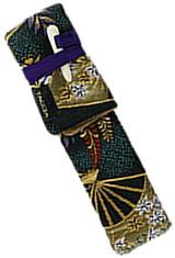 Nishijin Floral Garden and Sensu Fans Taccia Kimono Wrap Single Pen Carrying Cases