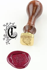 J Herbin Brass Letter Seal Sealing Wax in C - Illuminated Font