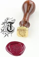 T - Illuminated Font J Herbin Brass Letter Seal Sealing Wax