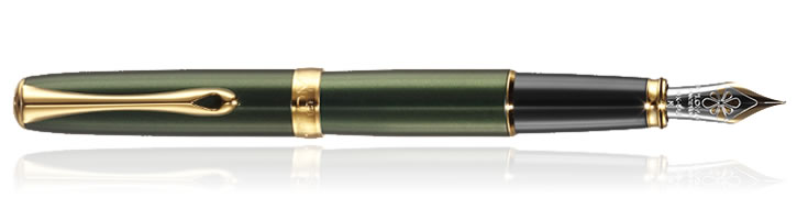 Diplomat Excellence A2 Fountain Pens in Evergreen Gold