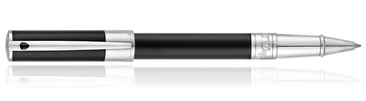 S.T. Dupont D-Inital Rollerball Pens in Black Chrome