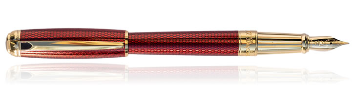 S.T. Dupont Diamond Guilloche Fountain Pens in Ruby