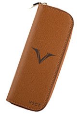 Visconti Double Pen Carrying Cases in Cognac
