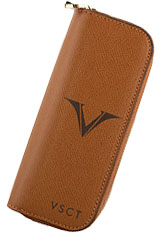 Visconti Four Pen Carrying Cases in Cognac