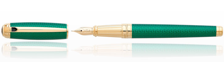 S.T. Dupont Line D Firehead Guilloche Fountain Pens in Emerald
